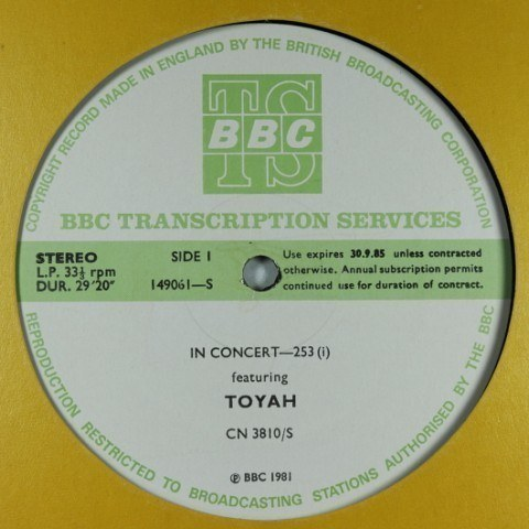Toyah In Concert: BBC Transcription